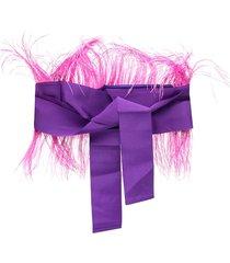 sara roka fringed waist-tied belt - purple