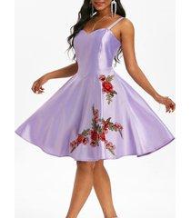 applique flower party a line dress