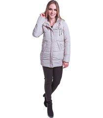 jaqueta sobretudo acolchoado frio inverno carbella cinza claro branco - kanui