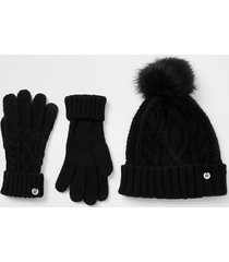river island womens black cable knit hat and gloves gift set