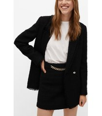 mango women's tweed chain miniskirt