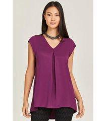 blusa alongada abertura traseira purple feminina