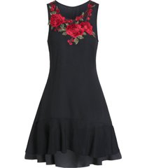 embroidered a line round collar dress