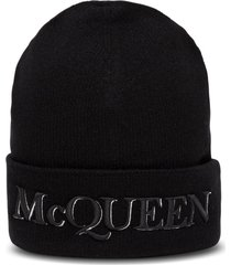 alexander mcqueen wool and cashmere hat with logo