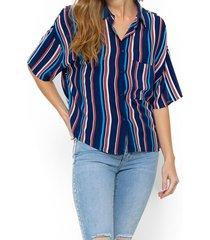 blusa rayada manga corta azul 7.5 setepontocinco
