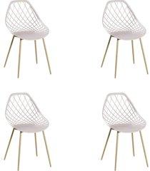 conjunto 04 cadeiras cloe base aço nude