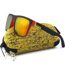 occhiali da sole polarizzati con montatura quadrata a quadri colorati da uomo
