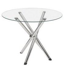 mesa de jantar redonda com tampo de vidro lorena cromada 90 cm