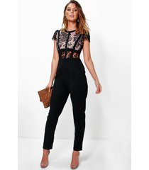 boutique jumpsuit met kanten korset top, zwart