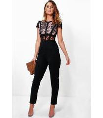 boutique jumpsuit met kanten korset top, zwart
