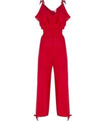brigitte silk empire jumpsuit - red