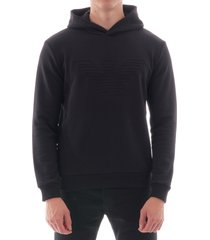 emporio armani eagle embroidered hoodie - black 6g1mb6-1j36z 999