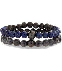men's steve madden labradorite & lapis bead bracelet