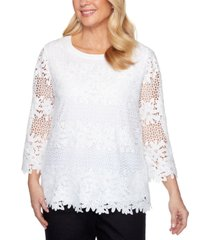 alfred dunner petite checkmate floral lace top