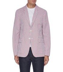 seersucker stripe unconstructed blazer