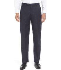 men's big & tall berle flat front classic fit solid wool dress pants, size 38 x unhemmed - blue