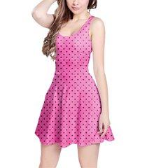 hot pink polka dots sleeveless dress