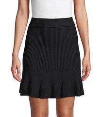 ribbed cotton-blend skirt