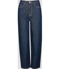 colette barrel fit high waist jeans - mörkblå