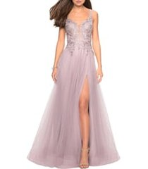 women's la femme floral embroidered tulle ballgown