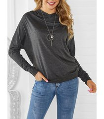 hooded drop-shoulder blouson top