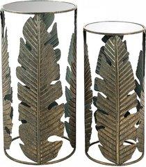 stolik kawowy 2 szt. stolik metalowy leaves