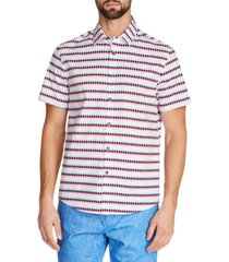 tallia men's slim-fit diamond stripe shirt