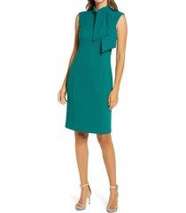 women's harper rose jabot neck sleeveless sheath dress, size 16 - green