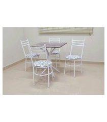 conjunto cozinha sevilha 0,75 com granito c/4 cadeiras vitoria açomix branco