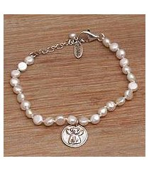 cultured pearl beaded bracelet, 'canine angel' (indonesia)