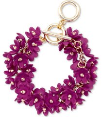 zenzii gold-tone resin flower cluster toggle bracelet