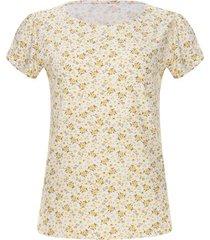 camiseta m/c flores amarillas color blanco, talla l