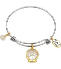 """unwritten two-tone """"tis the season"""" snowman shaker adjustable bangle bracelet with silver plated charms"""