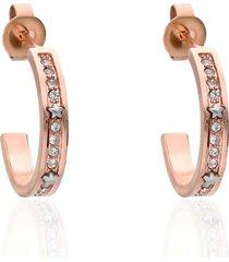 orecchini a cerchio in acciaio rosato e strass con stelle per donna