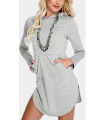 gris con capucha diseño mangas largas vestido