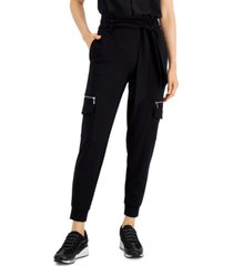 bar iii tie front utility jogger pants, created for macy's