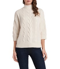 women's vince camuto cable stitch sweater, size small - white