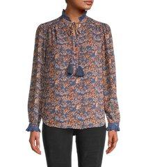 allison new york women's ruffle-trim floral blouse - multi floral - size s
