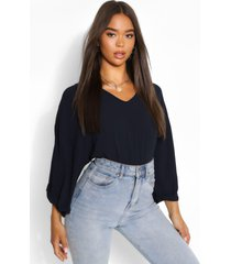 woven oversize roll sleeve blouse, navy