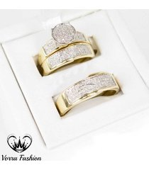 pure 925 silver 2 ct diamond bride & groom trio engagement ring wedding band set