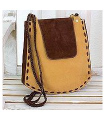 leather shoulder bag, 'coffee grain' (el salvador)
