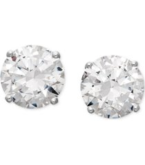 arabella 14k white gold earrings, swarovski zirconia round stud earrings (6-5/8 ct. t.w.)
