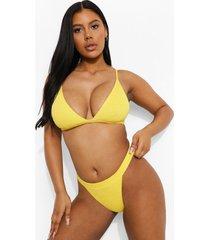 mix & match driehoekige gekreukelde bikini top, yellow