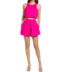 women's black halo sanibel crop top & high waist shorts set, size 12 - pink