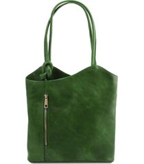 tuscany leather tl141497 patty - borsa donna in pelle convertibile a zaino verde