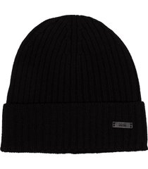 boss fati-m ribbed-knit beanie - black