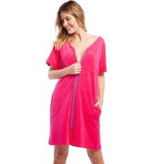 robe atoalhado pink com bolso e zãper azul - azul/pink - feminino - algodã£o - dafiti