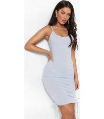 geribbelde strand jurk met touwtjes, powder blue