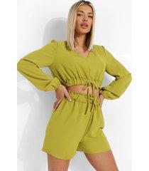 linnen look crop top met strik en shorts, olive