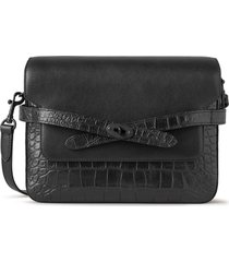 mulberry belted bayswater croc embossed leather crossbody bag - black
